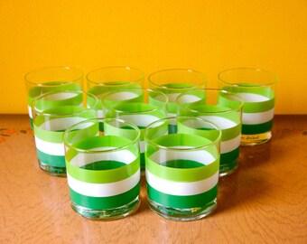 Set of 9 Georges Briard mid century rocks glasses
