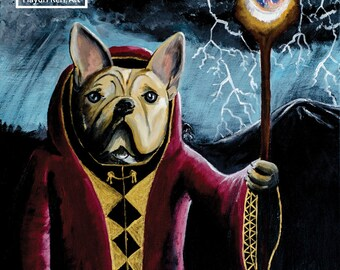 SpellBarker - Wizard of Paws original acrylic painting 16 x 20 inches