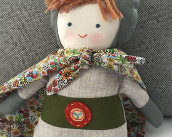 "17"" Superhero doll, handmade with all natural materials. Waldorf inspired dolls for creative play."