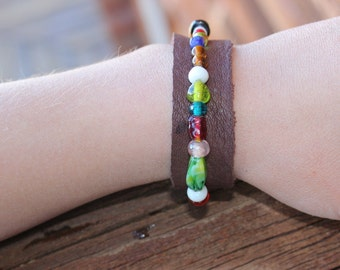 Colorful Glass Beaded Leather Bracelet