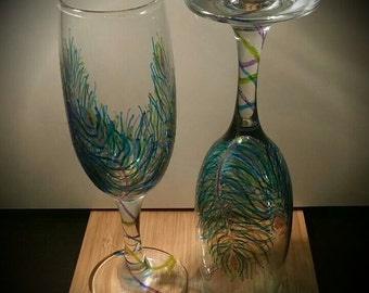 Feather Champagne Glass Set - 'Sharpie Art'
