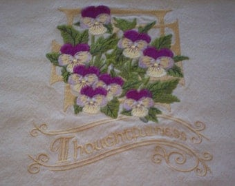 Victorian Pansies-Thoughtfulness Embroidered Tea Towel, Pansies Towel, Embroidered Tea Towel, Embroidered Flour Sack Towel