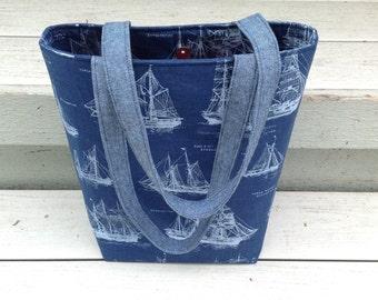 Tall nautical tote bag / Navy fabric handbag / Tall purse / Nautical purse / Ship fabric bag / Large shoulder bag / Large carryall bag