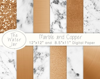 Marble and Copper digital paper pack, Printable Copper and Marble digital wallpaper, Digital Download Marble and Copper Pattern & Texture