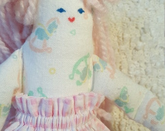 Small Girl Doll - Ivory with Pink Hair