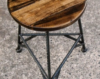Reclaimed Wood Bar Stools, Metal Bar Stools, Industrial Bar Stool, Rustic Bar Stools, Rebar Furniture