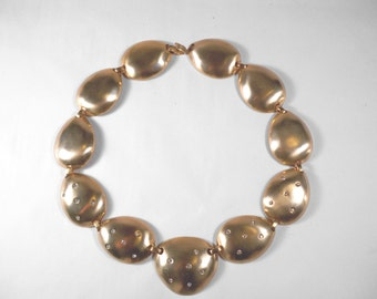 Vintage Goldtone Rhinestone Necklace N0004 Bold and Chunky!