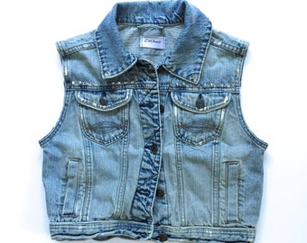 Women's Studded Vintage Denim Vest - distressed denim - custom denim - studs - blue denim - jean vest - Size S
