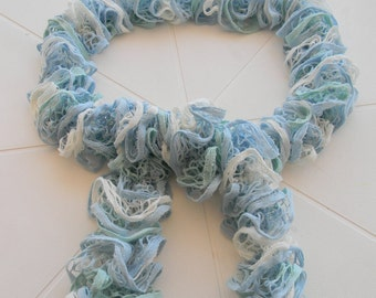 Ruffle Scarf - Cotton - Shades of Blue