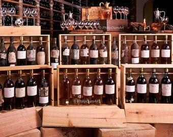Château d'Yquem, Bordeaux, Sauternes, France, 1867-1941, historical wine tasting, cellar, fine art photography, kitchen decor