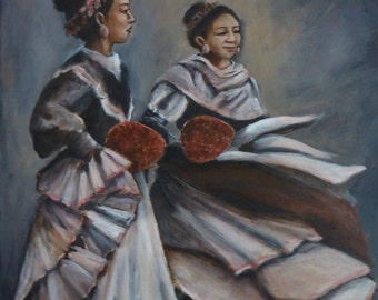 small acrlic painting Spanish dancers - an original acrylic painting by Colorado figurative and portrait artist Anita Dewitt
