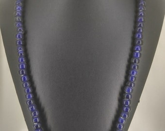 Cobalt Blue Glass Beaded Necklace - KD1326