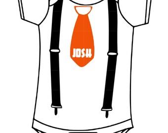 Personal Boys Tie & Suspenders Onsie