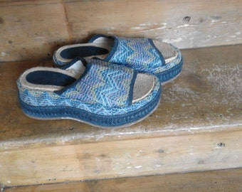 Vintage 70's Shelley's Rope & Rafia Wedge Sandals