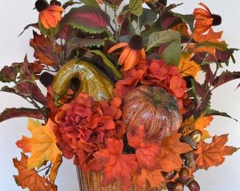 Fall Silk Floral Arrangement with Faux Pumpkin, Gourd and Hydrangea, Fall Basket, Autumn Flower Arrangement, Thanksgiving Decor,
