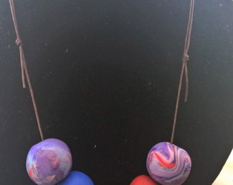 Purple, Red and Blue Polymer Clay Necklace