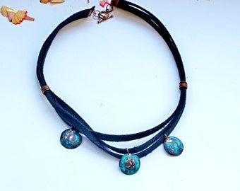 Triple necklace Party necklace Copper patina jewelry Statement necklace Antique copper statement necklace Metal work Everyday necklace gift