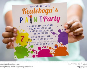 Art party Invitation - Colourful - Art Party - Birthday Invite