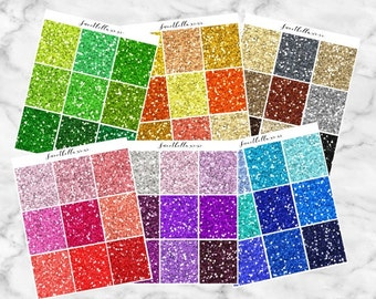 GLOSSY Chunky Glitter Headers / Glitter Planner Stickers / Glitter Headers / ECLP