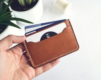 Leather cardholder, CHESTNUT     Card wallet     Slim leather wallet