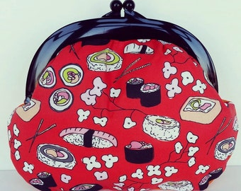 Sushi Fabric, Plastic frame Purse, Quirky, Japanese Fabric, Clutch, Bag, Gamaguchi, Make up, colour contrast, Cherry Blossom, present, gift