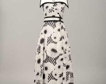Vintage 1970s Black and White Graphic Anemone Printed Vintage Halter Maxi Dress with Large Collar