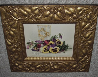 """Excellent Old 1904 Print of Lush Purple and Yellow Pansies Signed Paul De Longpre in Gorgeous 3 3/4"""" Wide Victorian Gesso Frame With Glass"""
