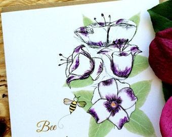 "Bee Positive|  Friendship | Encouragement | Just Because Card | ""Bee-Attitudes"" by Love Bee"
