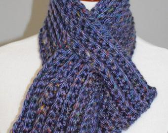 Pull Thru Scarf,  Keyhole Scarf,  Crochet Scarf,  Short Scarf, Chunky Crochet Scarf