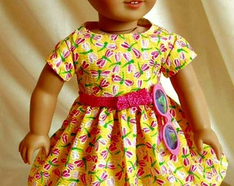 Pink Dragonflies on Yellow Doll Dress fits American Girl