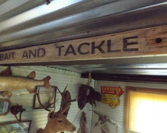 Wood Bait and Tackle Sign. Fishing Decor. Vintage Fishing Sign. Distressed Bait Shop Sign. Fish Tackle Sign. Outdoor Decor. Rustic Bait Sign