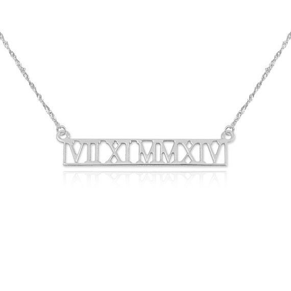 18th Birthday Cz T Bar Sterling Silver Heart Bracelet Can: Roman Bar Necklace Cut Out Roman Numeral Bar By LoveMyNecklace