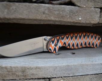 Ontario RAT 1 bengal tiger toxic pattern knife custom handmade scales.