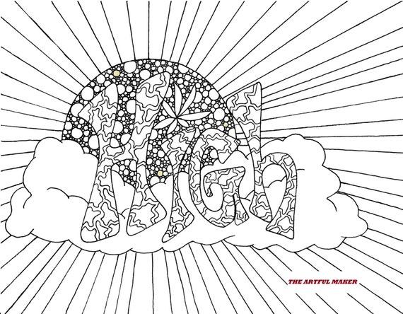 stoner trippy weed coloring pages - photo#31