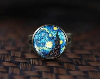 Van Gogh ring, Starry Night ring,Van Gogh jewelry, Classic Art ring, Van Gogh painting glass ring,