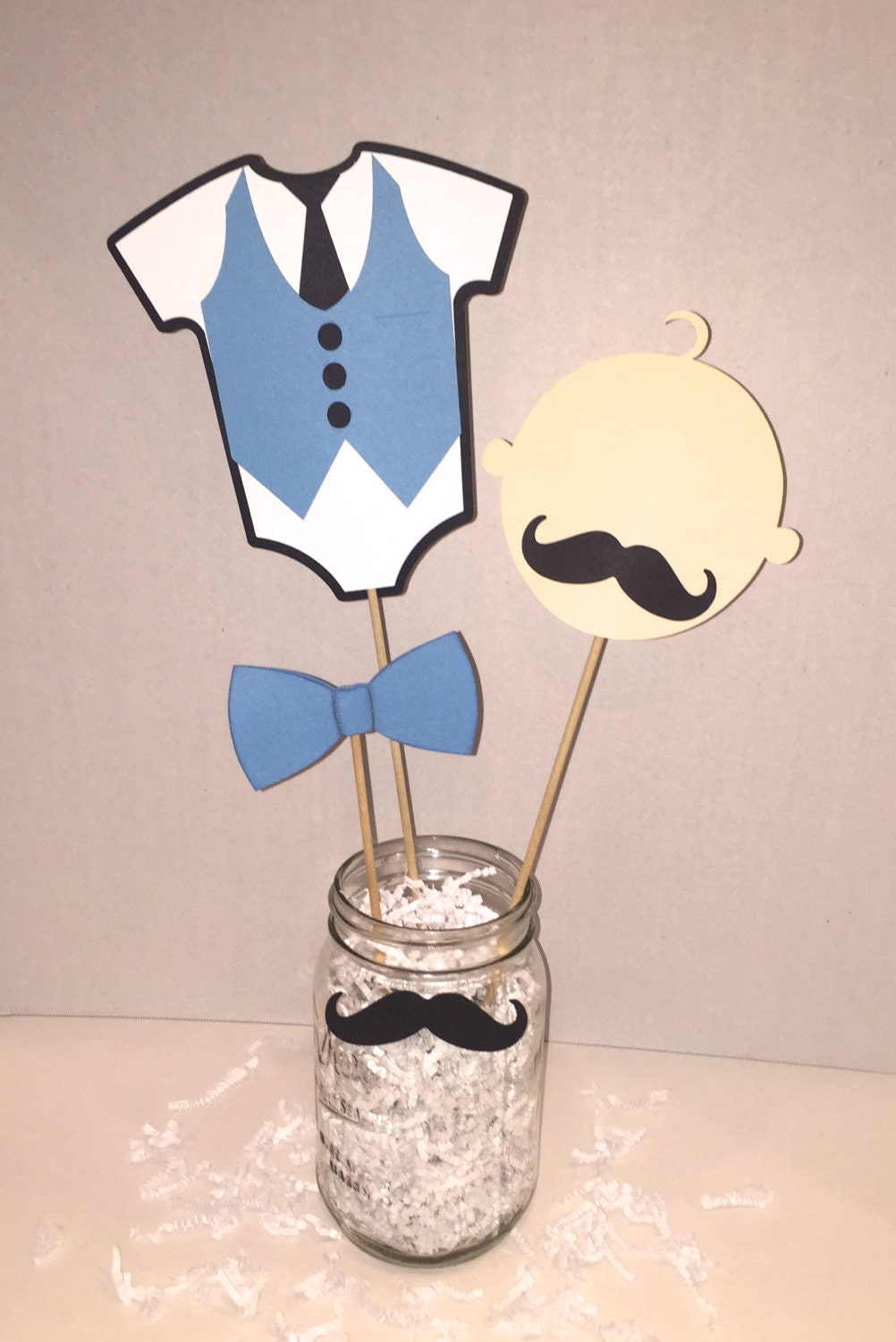 little man baby shower mustache boy birthday centerpiece