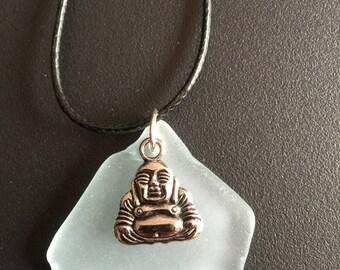 Sea glass necklace, Buddha