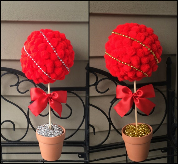 Red pom poms topiary silver centerpiece gold by