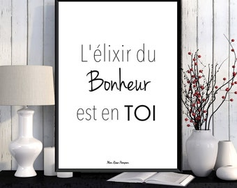 French quote design, Poster inspirational french quote, Inspirational art, Positive art, Feel good art, Wall art decor, Love gift, Art print