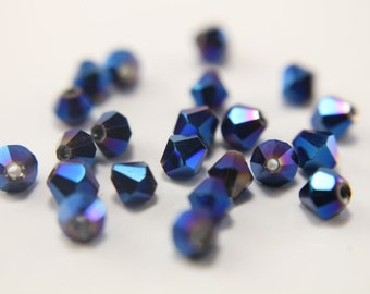 50 pc Blue Bicone Austrian Crystal Beads 4mm - Royal Blue Bicone Beads -  Blue Spacer Beads - Blue AB Bicone Beads - DIY Jewelry