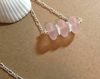 "Pink Sea Glass Necklace, 16"" Sterling Silver Plated Chain, 2"" Extension with Clear Crystal Accents."