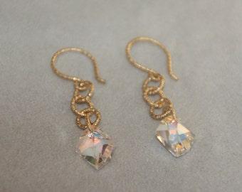 Dangle earrings. Crystal drop earrings. 14K gold filled hoop earrings. Wedding jewelry. Handcrafted jewelry. Gold earrings. Mother's day