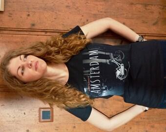 Black t shirt 'Amsterdam' - womens clothing - original design by ©WhenWomanTravels