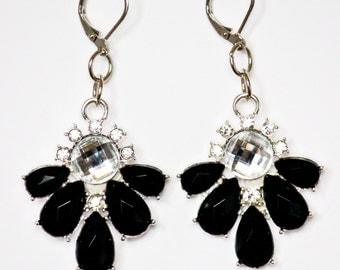 Black and White Rhinestone Earrings - Artisan Black and White Rhinestone Earrings - Black and White Crystal Earrings - Gifts for Her