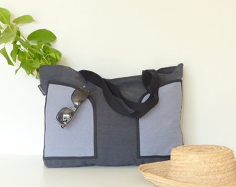 Canvas bag black and blue XXL - large tote for the beach with pockets - shoulder bag for sport - Family Ballad bag