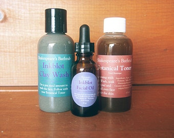 Anti Acne Facial System - Clay Soap Wash, Toner and Facial Oil - Full System for Oily and Blemished Skin Types - Natural, Vegan, Detoxifying