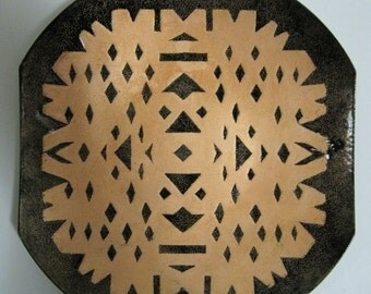 Enamel-on-Copper Square Dish, Modernist Geometric Design, Brown and Copper Color, Mid-Century Modern
