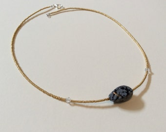 Dalmatian Obsidian necklace