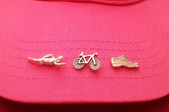 Swim Bike Run Sports Pins, Inspirational Hat Pins, Lanyard Pins, Tie Tacks, Athlete Lapel Pins Tie Tacs, Sports Jewelry Pins, Coach Team Pin