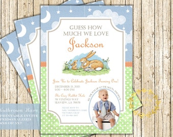 Guess How Much I Love You Birthday Invitation - Love You to the Moon and Back Invite, Nutbrown Bunny Birthday Party Digital Printable Boy